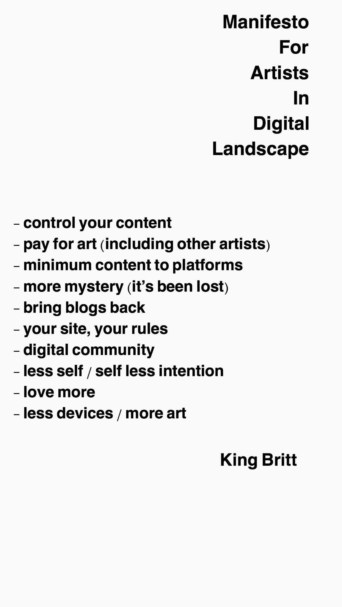 King Britt manifesto
